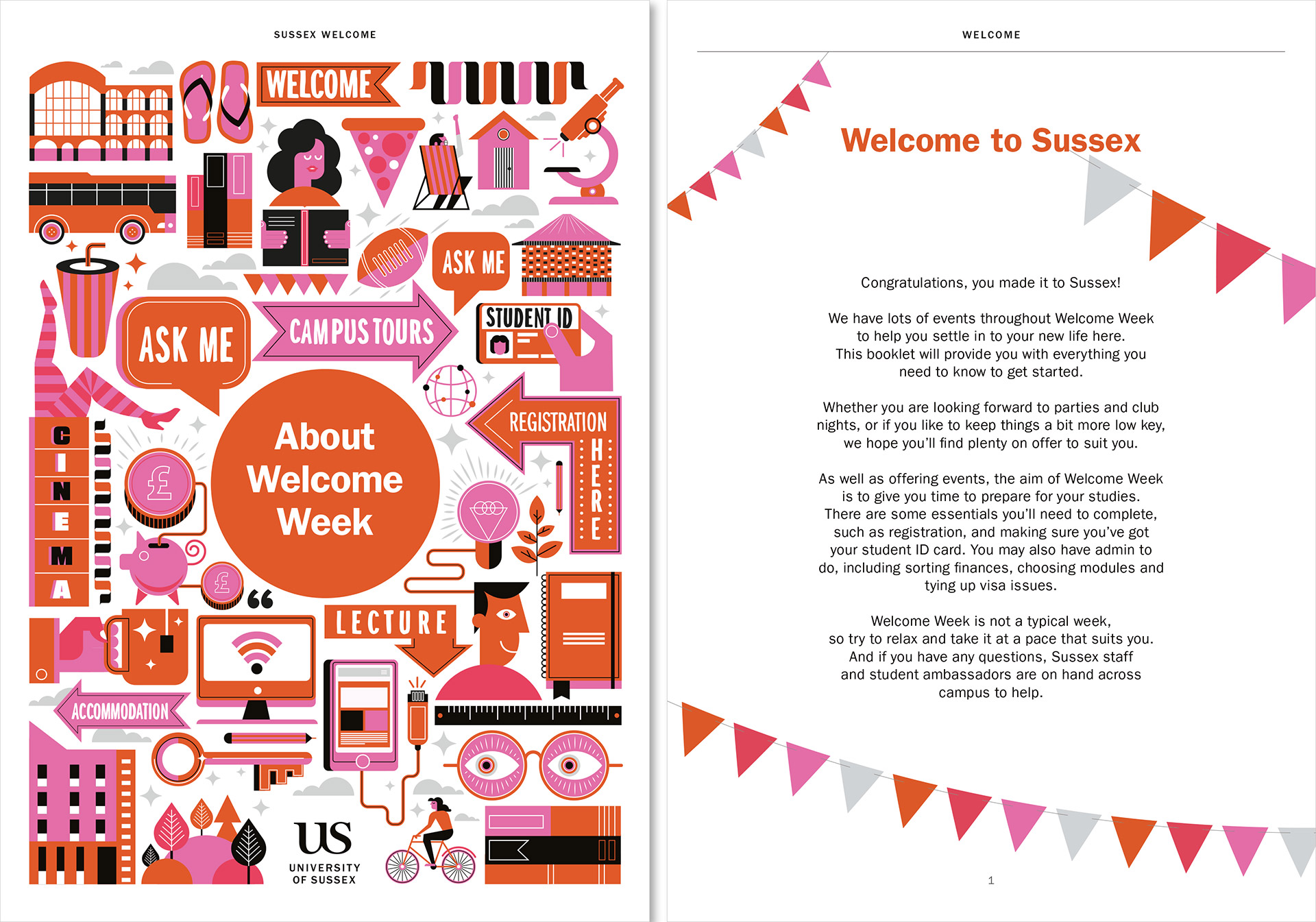 The University of Sussex welcome booklet designed by Irish Butcher