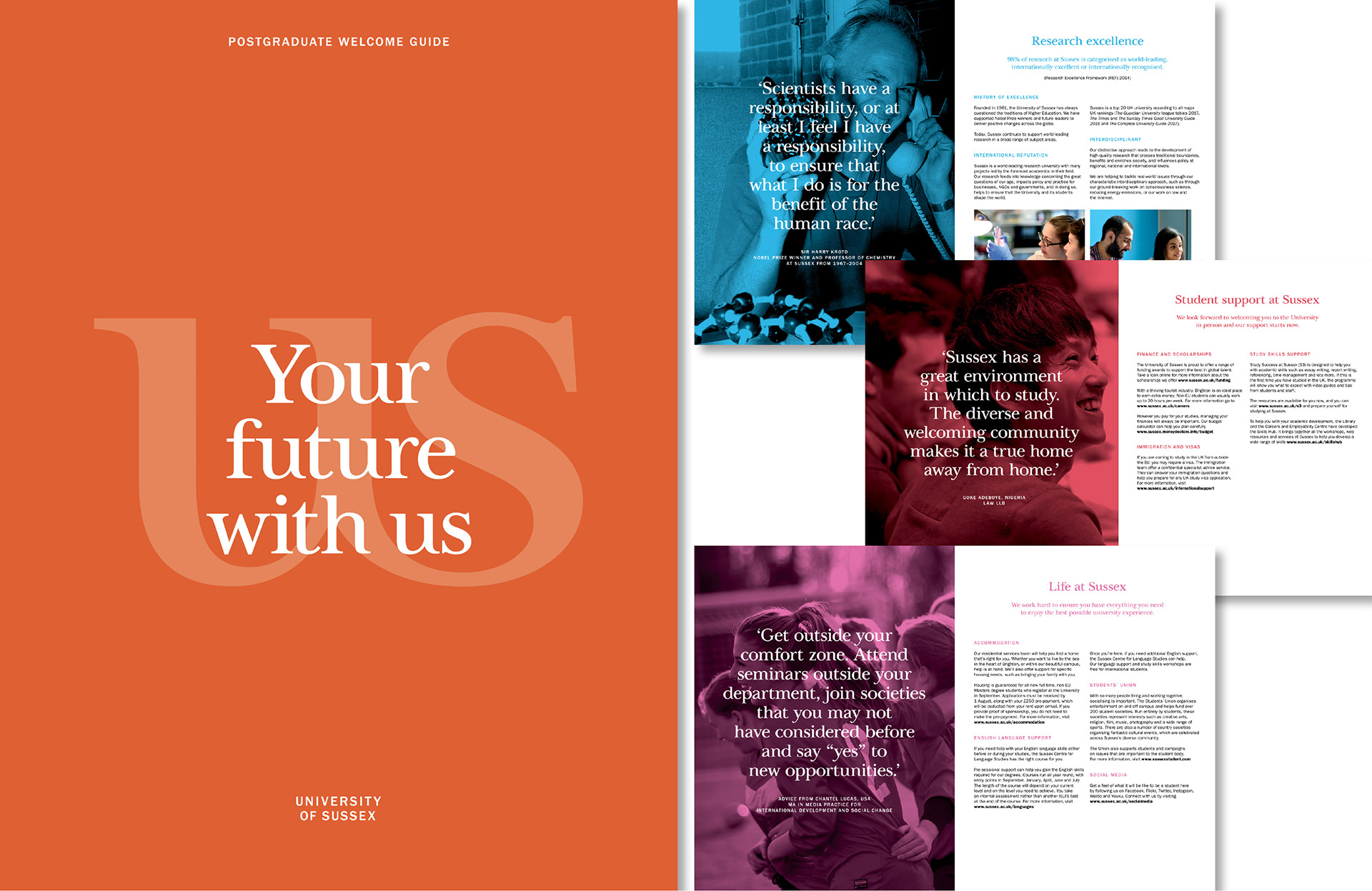 The University of Sussex Postgraduate welcome guide designed by Irish Butcher