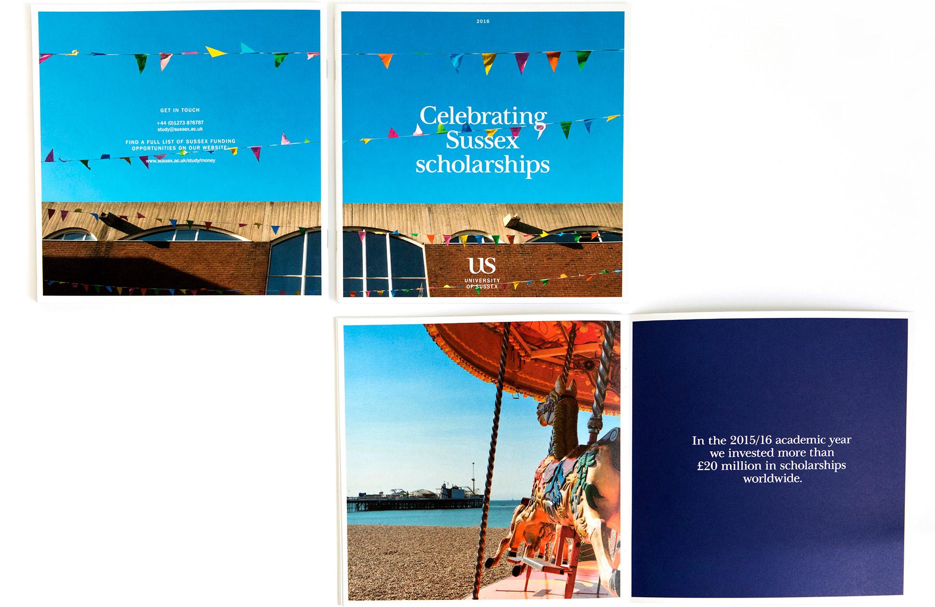 The University of Sussex Scholarship brochure designed by Irish Butcher